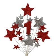 Number age 1st birthday cake topper decoration in red and silver - free postage