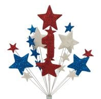 Number age 1st birthday cake topper decoration in red, white and blue - free postage