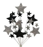 Number age 1st birthday cake topper decoration in silver and black - free postage