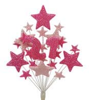 Number age 21st birthday cake topper decoration in shades of pink - free postage