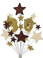 Number age 30th birthday cake topper decoration in choc, gold and cream - free postage
