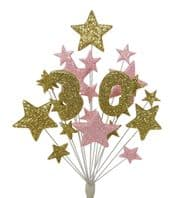 Number age 30th birthday cake topper decoration in gold and pale pink - free postage
