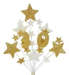 Number age 30th birthday cake topper decoration in gold and white - free postage