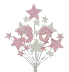 Number age 30th birthday cake topper decoration in pale pink and white - free postage