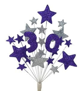 Number age 30th birthday cake topper decoration in purple and silver