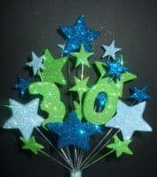 Number age 30th birthday cake topper decoration in shades of blue and lime - free postage