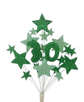 Number age 30th birthday cake topper decoration in shades of green - free postage