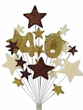Number age 40th birthday cake topper decoration in choc, gold and cream - free postage