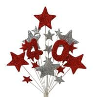 Number age 40th birthday cake topper decoration in red and silver - free postage