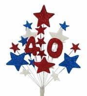 Number age 40th birthday cake topper decoration in red, white and blue - free postage