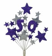 Number age 50th birthday cake topper decoration in purple and silver - free postage