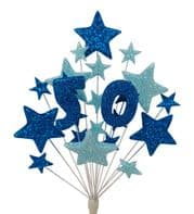 Number age 50th birthday cake topper decoration in shades of blue - free postage