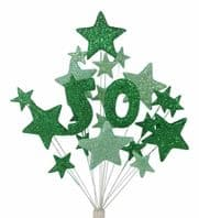 Number age 50th birthday cake topper decoration in shades of green