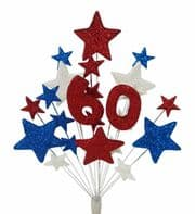 Number age 60th birthday cake topper decoration in red, white and blue - free postage