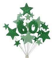 Number age 60th birthday cake topper decoration in shades of green - free postage