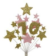 Number age 70th birthday cake topper decoration in gold and pale pink - free postage