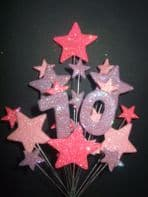 Number age 70th birthday cake topper decoration in pinks and lilac -  free postage