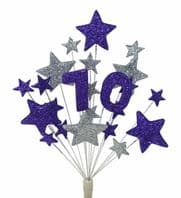 Number age 70th birthday cake topper decoration in purple and silver - free postage