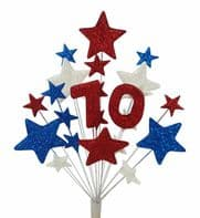 Number age 70th birthday cake topper decoration in red, white and blue - free postage
