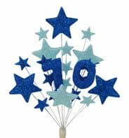 Number age 70th birthday cake topper decoration in shades of blue - free postage