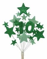 Number age 70th birthday cake topper decoration in shades of green - free postage