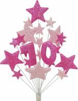 Number age 70th birthday cake topper decoration in shades of pink - free postage