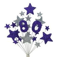 Number age 80th birthday cake topper decoration in purple and silver - free postage