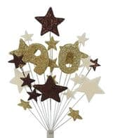 Number age 90th birthday cake topper decoration in choc, gold and cream - free postage