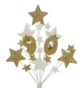 Number age 90th birthday cake topper decoration in gold and white - free postage