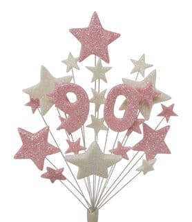 Number age 90th birthday cake topper decoration in pale pink and white - free postage