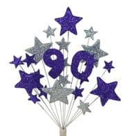 Number age 90th birthday cake topper decoration in purple and silver - free postage
