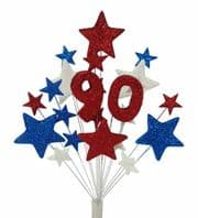 Number age 90th birthday cake topper decoration in red, white and blue - free postage