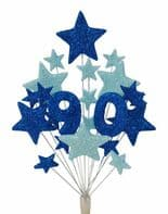Number age 90th birthday cake topper decoration in shades of blue - free postage