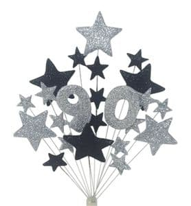 Number age 90th birthday cake topper decoration in silver and  black - free postage