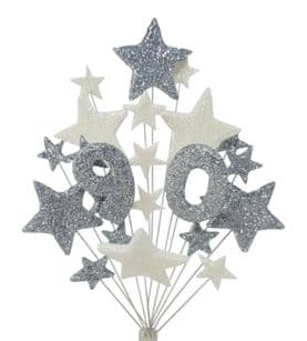 Number age 90th birthday cake topper decoration in silver and white - free postage