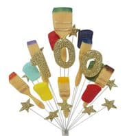Painter and decorator 100th birthday cake topper decoration (gold) - free postage