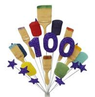 Painter and decorator 100th birthday cake topper decoration (purple) - free postage