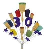 Painter and decorator 30th birthday cake topper decoration (purple) - free postage