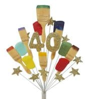 Painter and decorator 40th birthday cake topper decoration (gold) - free postage