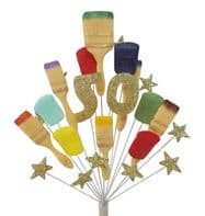 Painter and decorator 50th birthday cake topper decoration (gold) - free postage