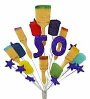 Painter and decorator 50th birthday cake topper decoration (purple) - free postage