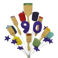 Painter and decorator 90th birthday cake topper decoration (purple) - free postage
