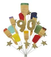 Painter and decorator 90th birthday cake topper (gold) - free postage