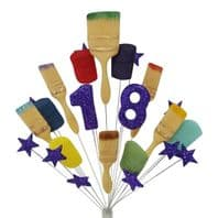 Painter & Decorator 18th birthday cake topper decoration in purple - free postage