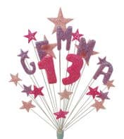 Personalised 13th name birthday cake topper decoration in lilac and pink - free postage