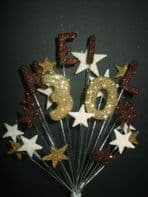 Personalised name birthday cake topper decoration in choc, gold and cream - free postage