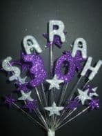 Personalised name cake topper decoration in silver and purple - free postage