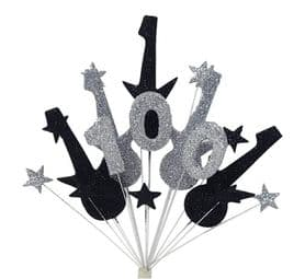 Rock guitar 100th birthday cake topper decoration in black and silver - free postage