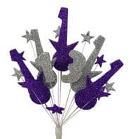 Rock Guitar 13th birthday cake topper decoration in purple and silver - free postage