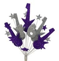 Rock guitar 16th birthday cake topper decoration in purple and silver - free postage